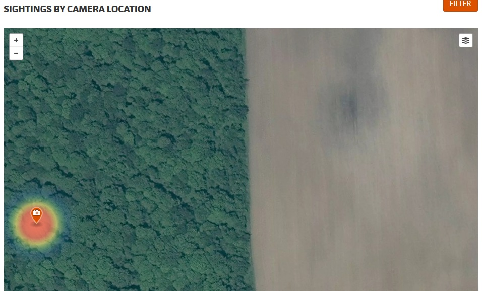 Deer Lab's trail camera heat map