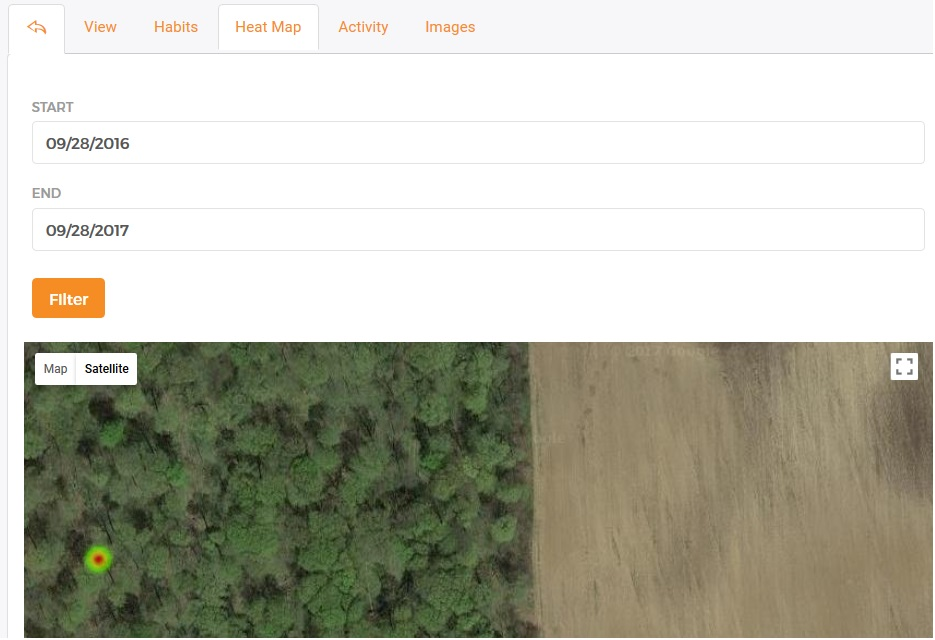 Hunt Perfect's trail camera heat map.